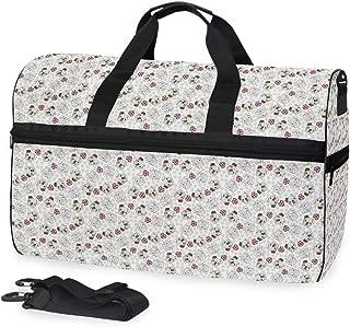 Fur Dog British Flag Heart Big Travel Bag Top Fashion Weekender Large Capacity Camping Fitness Sports Luggage for Women Men