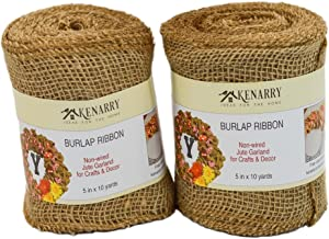 Burlap Ribbon, Wide Natural, 5 Inch x 10 Yard Loose Weave Roll for Crafts and Decor (2 Rolls)