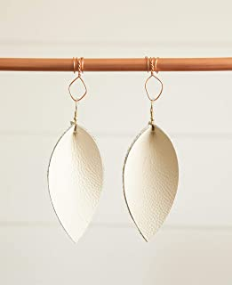 Cream Leaf Genuine Leather Earrings