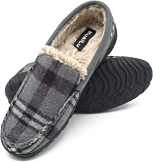 KuaiLu Mens Comfort Memory Foam Moccasin Slippers Slip On House Shoes Warm Plush Fleece Lind with Indoor Outdoor Rubber Sole