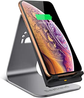Bestand Wireless Charger, Qi Wireless Charger Stand Compatible with iPhone XR/XS Max/XS/X / 8/8 Plus, Samsung Galaxy S9/S9+/S8/S8+/S7/Note 8, and Above (No AC Adapter) - Grey