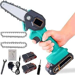 Mini-Scie électrique Portable sans Fil Chainsaw avec Chargeur et 2 Batteries 2 chaînes électriques élaguer