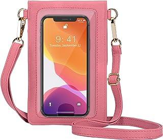 SeOSTO Damen-Handytasche, kleine Umhängetasche mit durchsichtigem Sichtfenster für iPhone Samsung Smartphone(Rouge Powder)