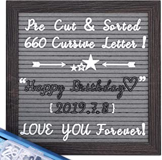 Felt Letter Board with Cursive Letters, Pre-Cut & Sorted 660 White&Black Letters, 10X10 Rustic Wood Frame Gray Letter Board, Changeable Letter Boards +Metal Stand +Sorting Tray +Wall Mount +Gift Box.