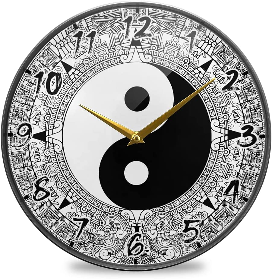 Enzenon Round Wall Clock Silent Acrylic Symbol Yang Tai Don't miss Super beauty product restock quality top! the campaign Yin Chi