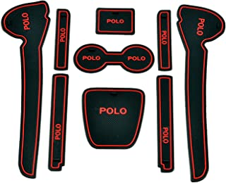 Car Drome Mats for Volkswagen Polo -Red Set of 9 Pieces
