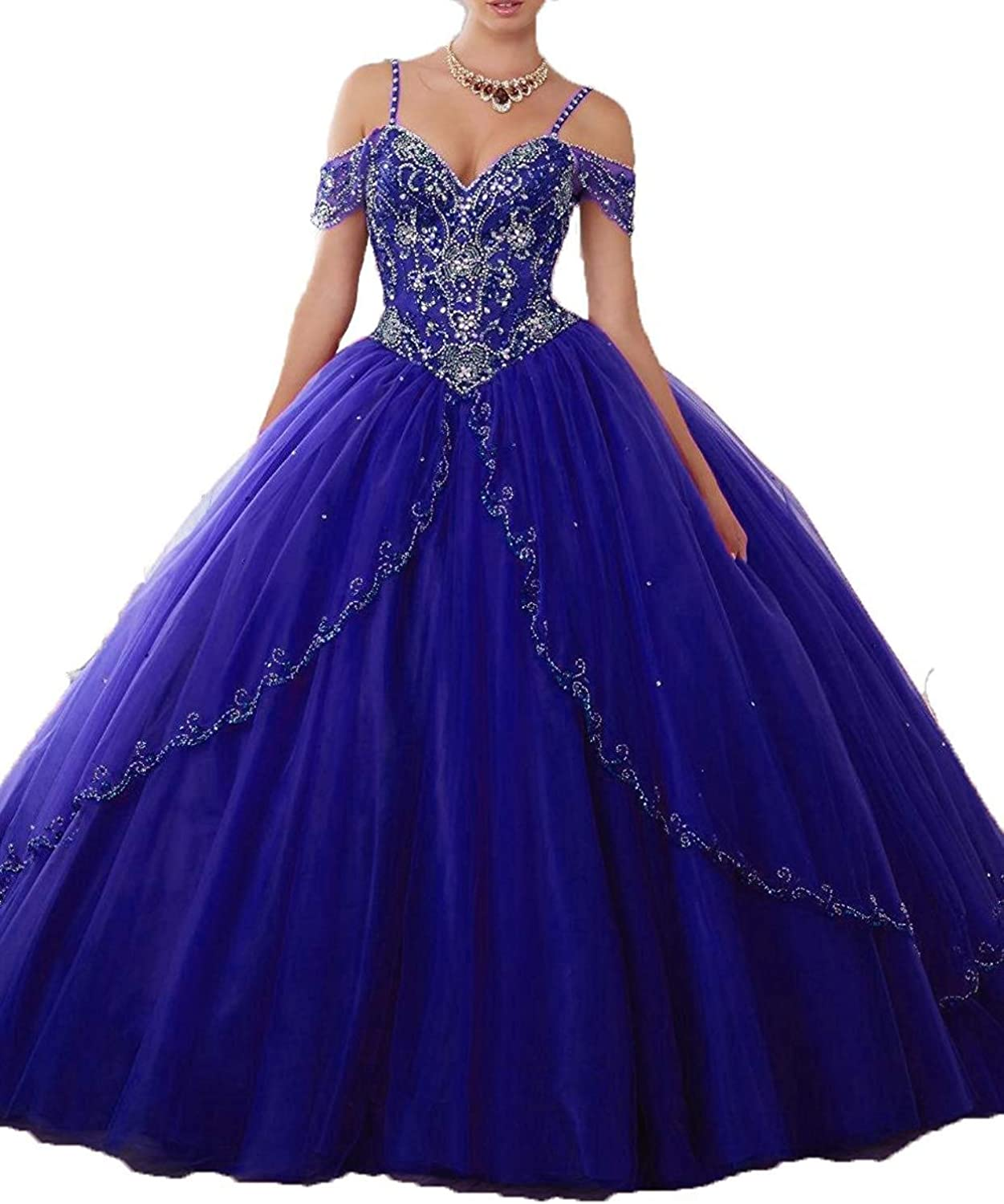 EverBeauty Beaded Off Shoulder Quinceanera Dress Long Aline Tulle Prom Ball Gown