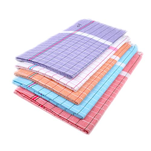 Sathiyas Sunrise Cotton Bath Towel (Lavender, White, Orange, Blue, Red, 33x66 Inches) - Combo of 5 Pieces