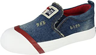 Alexis Leroy Kid's Unisex Denim Design Slip On Canvas Loafer Sneakers