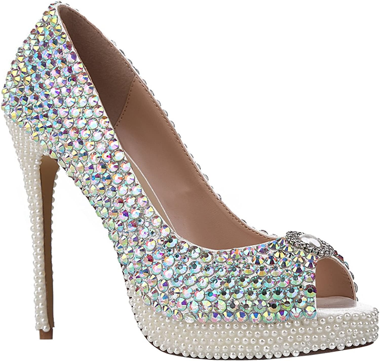 TDA Women's Peep Toe Beaded Platform Dazzling Rhinestones Sheepskin Evening Party Dress Sexy Stiletto shoes