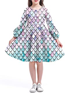 storeofbaby Girls Print Dress Long Sleeve Casual Floral Flare Knee Length Dresses 4-13 Years