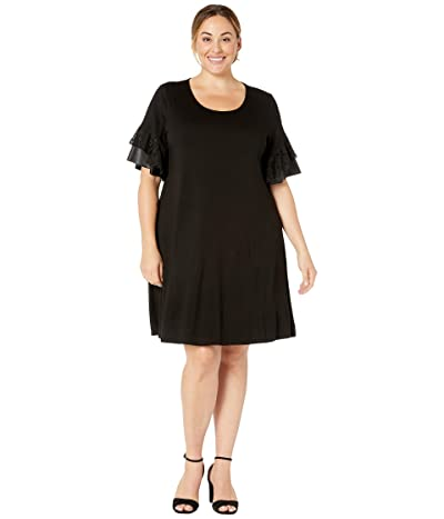 Karen Kane Plus Plus Size Contrast Ruffle Sleeve Dress (Black) Women