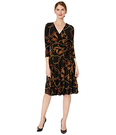 LAUREN Ralph Lauren Petite Equestrian-Print Jersey Dress (Black/Gold/Multi) Women