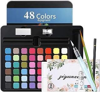 MojiDecor Set de Peinture Aquarelle, Boîte d'Aquarelle avec 48 Couleurs + 1 Stylo d'aquarelle + 1 Crayon à Dessin + 1 Pale...