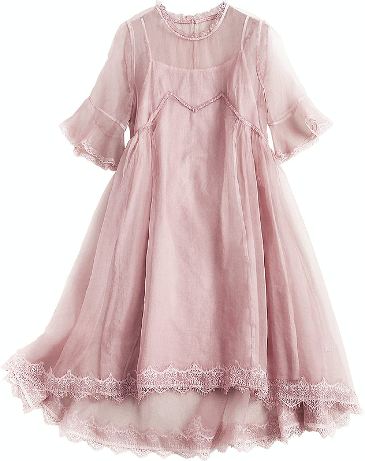 Pink Silk Super Thin Flare Sleeves Feeling Cool Short Two Pieces Dress