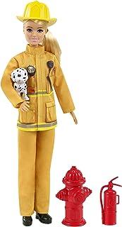 Barbie Métiers coffret poupée Pompière blonde et accessoires à thème dont extincteur et mégaphone, jouet pour enfant, GTN83