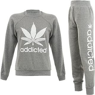 Forever Womens Addicted Print Tracksuit Sweatshirt Joggers Set