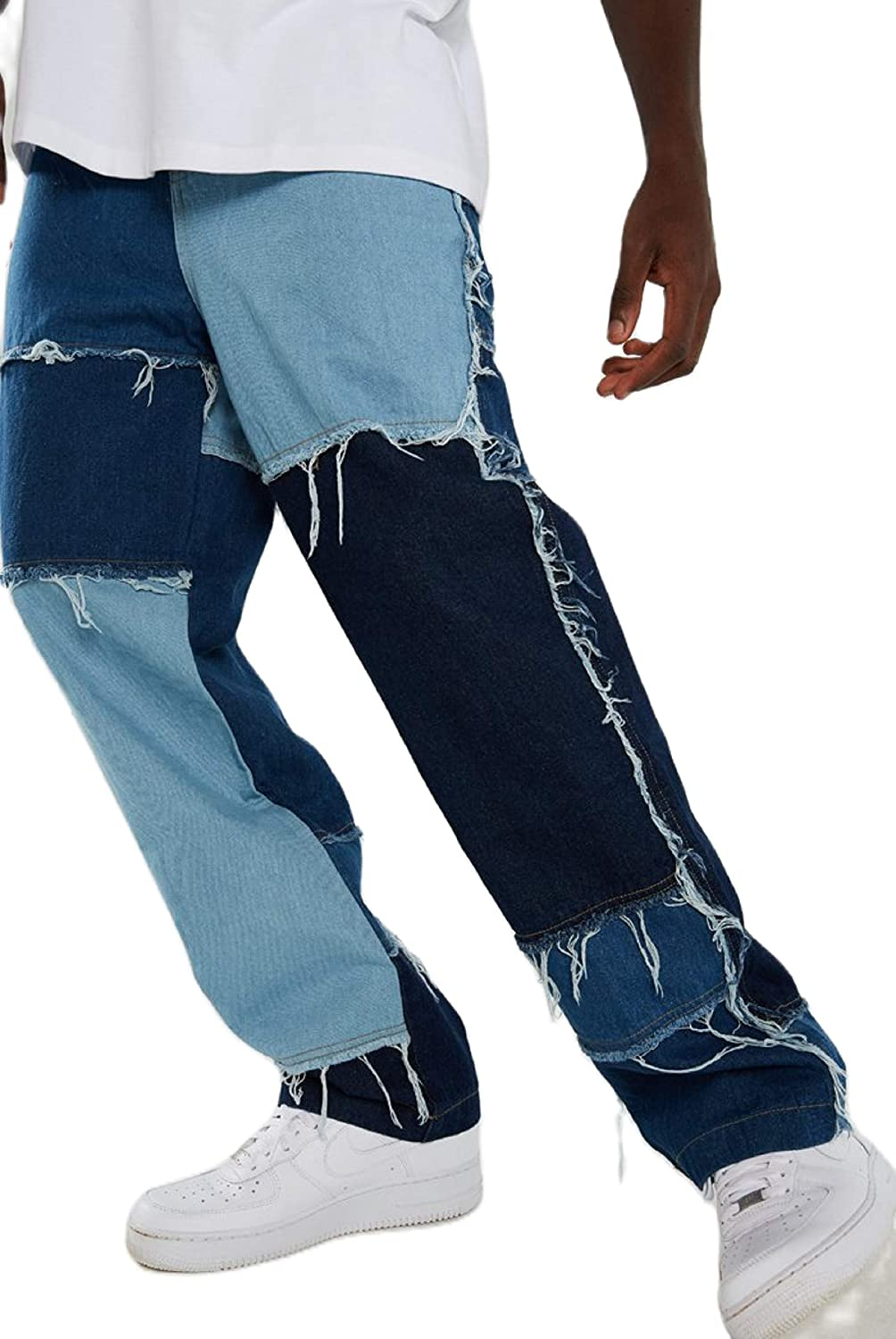 NUFIWI Mens Baggy Jeans Loose Fit Leg Max 44% OFF Denim Soldering Wide Pants Straight