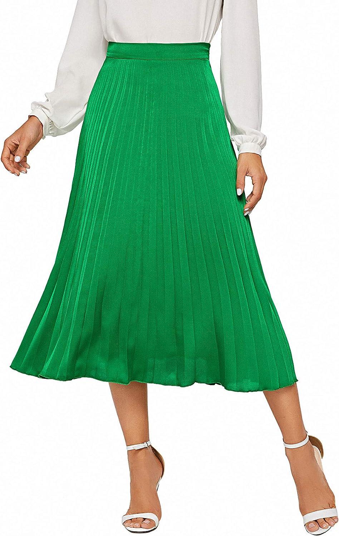 Milumia Women's Casual Zipper Back Full Length Solid Pleated Swing Midi Skirt Green S