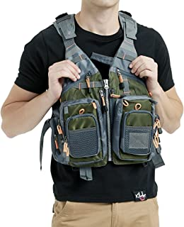 Mounteen Fly Fishing Vest Pack Adjustable Size for Men and Women with Breathable Mesh, Trout Fishing Gear, for Outdoors Stream Fishing