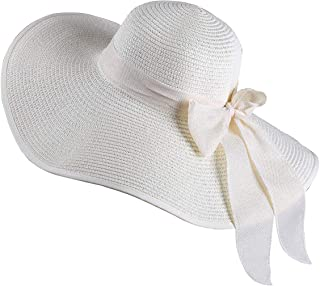 WITHMOONS Womens Sun Hat Wide Brim Floppy Beach Cap Packable Ribbon Hat QZ90052