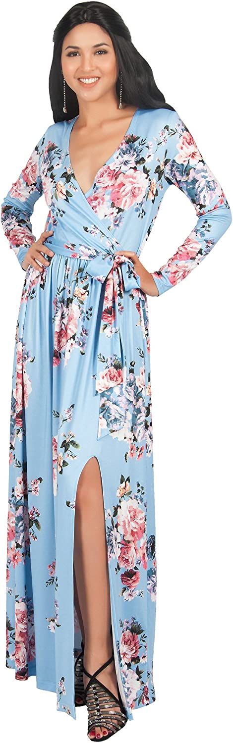 KOH KOH Womens Long Sleeve Floral Print V-Neck Cross Over High Slit Cocktail Evening Gown Maxi Dress