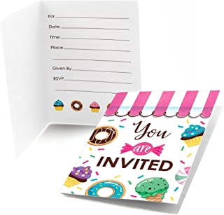 Big Dot of Happiness Sweet Shoppe - Fill in Candy and Bakery Birthday Party or Baby Shower Invitations (8 Count)