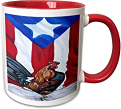 Melissa A. Torres Puerto Rican Art - Rooster With Puerto Rican Flag - Two-Tone Red Mug Funny Gift for Christmas 11 oz