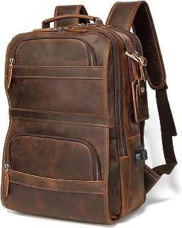 Lannsyne Vintage Echtleder Rucksack für Herren 15,6 Zoll Laptop Tasche Schultasche Übernachtung Wochenender Camping Tagesr...