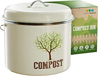 Third Rock Compost Bin for Kitchen Counter - 1.3 GALLON 5 LITER | Premium Dual Layer Powder Coated Carbon Steel Compost Bin Countertop Bucket | Includes Charcoal Filter for Kitchen Compost Bin