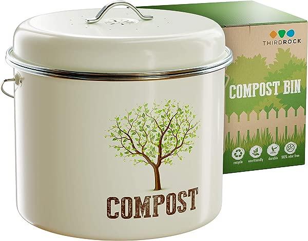 Third Rock Compost Bin For Kitchen Counter 1 3 Gallon 5 Liter Premium Dual Layer Powder Coated Carbon Steel Compost Bin Countertop Bucket Includes Charcoal Filter For Kitchen Compost Bin