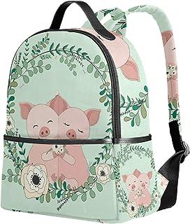ユサキ(USAKI) リュック リュックサック 通学 小豚 ピンク 花柄