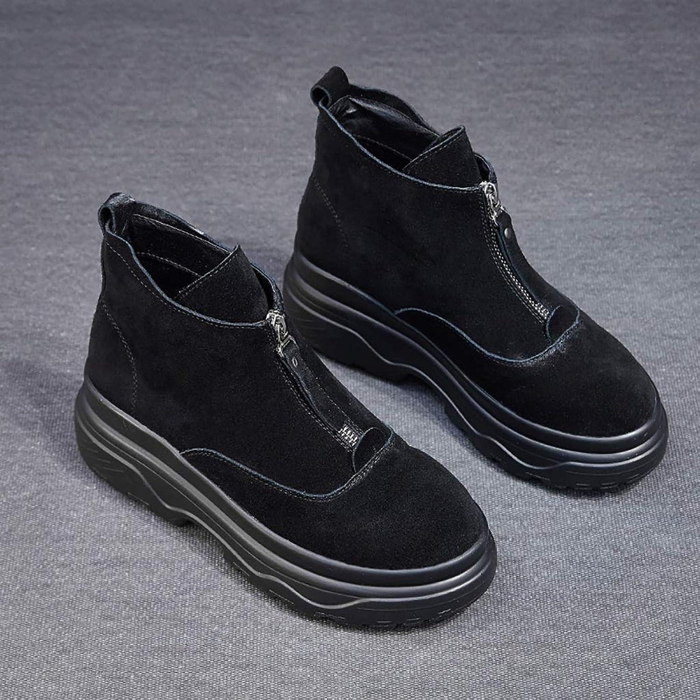 ZYFXZ Trekking- & Wanderstiefel Martin Schuhe Frauen niedrige Stiefel Trend dicken unteren Frontreiverschluss Martin Stiefel (schwarz, beige zweifarbig optional) (Farbe   SCHWARZ, gre   39)