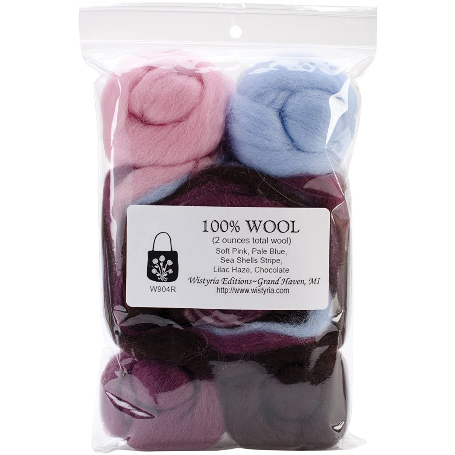 Wistyria Editions WRS-W904R Wool Roving, Sea Shells, 8-Pack