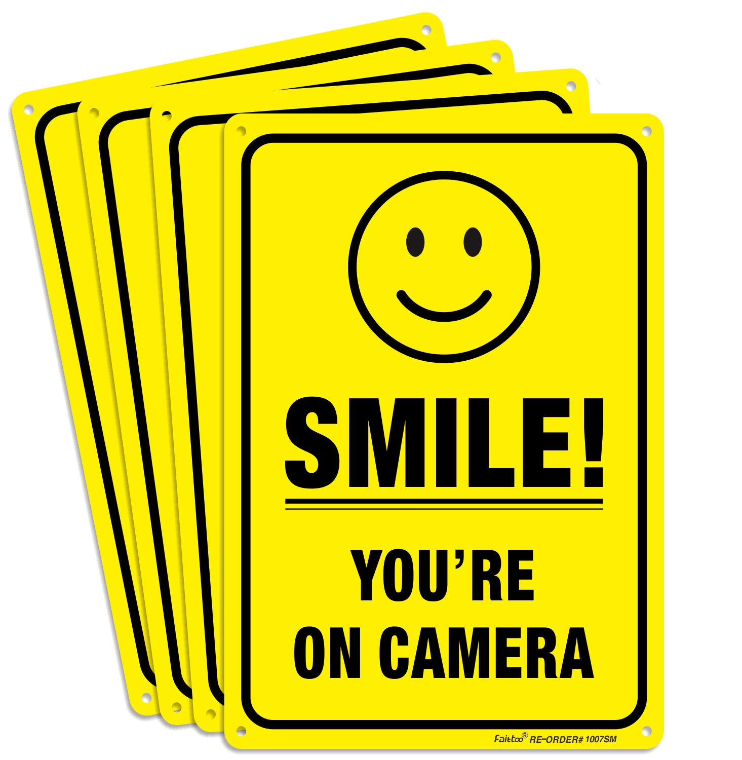 4 Pack Smile You're on 5 ☆ very popular Camera Video Sign 10 - Surveillance Same day shipping 7 x
