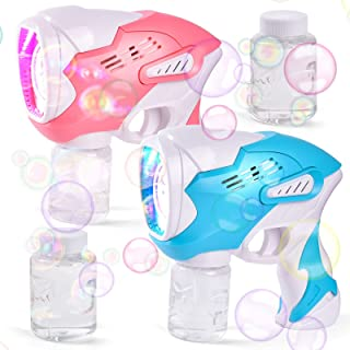FUN LITTLE TOYS 2 Bubble Guns with 4 Bottles Bubble Solutions for Kids, Bubble Maker with Sound and Light, Bubble Blower T...
