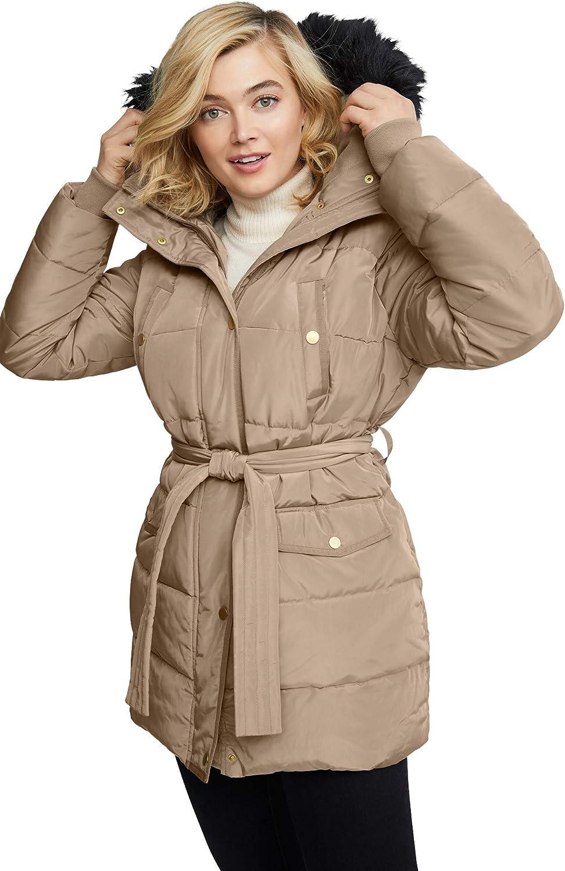 ellos Women's Plus Size Belted Puffer Coat