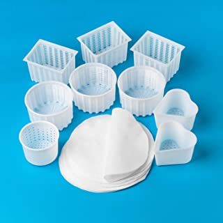 Cheese Making Molds 9 pcs + Milk Filters Various Cheese Molds Cheese Makers Cheese Mold Cheese Making Supplies Cheese Making Cheese Mold Cheese Utensils Cheese Mold for Cheese Production