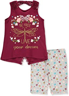 Real Love Girls Lace Over Flowers 2-Piece Shorts Set Outfit
