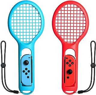 LEDGLE マリオテニス エース用テニスラケット Nintendo Switch Joy-Con ハンドル 任天堂 スイッチ テニスゲームの臨場感 高感度 軽量 ABS製 2個セッット ブルー&レッド