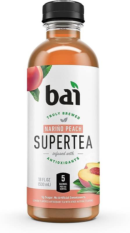 Bai Iced Tea Narino Peach Antioxidant Infused Supertea Crafted With Real Tea Black Tea White Tea 18 Fluid Ounce Bottles 12 Count
