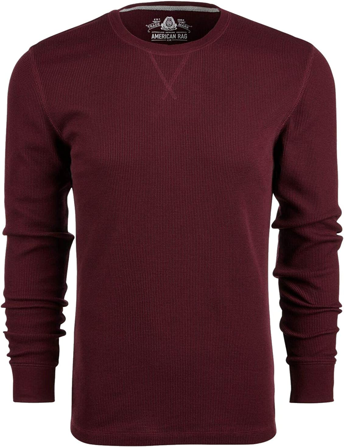 American Rag Mens T-Shirt Coverstitch Thermal Crewneck Tee Red 2XL