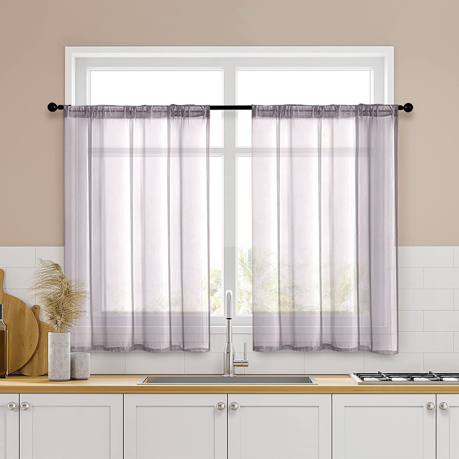Amazon Com Mrtrees Grey Tier Curtains Sheer Kitchen Tiers 34 X 36 Inch Length Cafe Curtains Voile Short Sheers Bathroom Small Window Rod Pocket 2 Panels Half Window Curtains Gray Home Kitchen