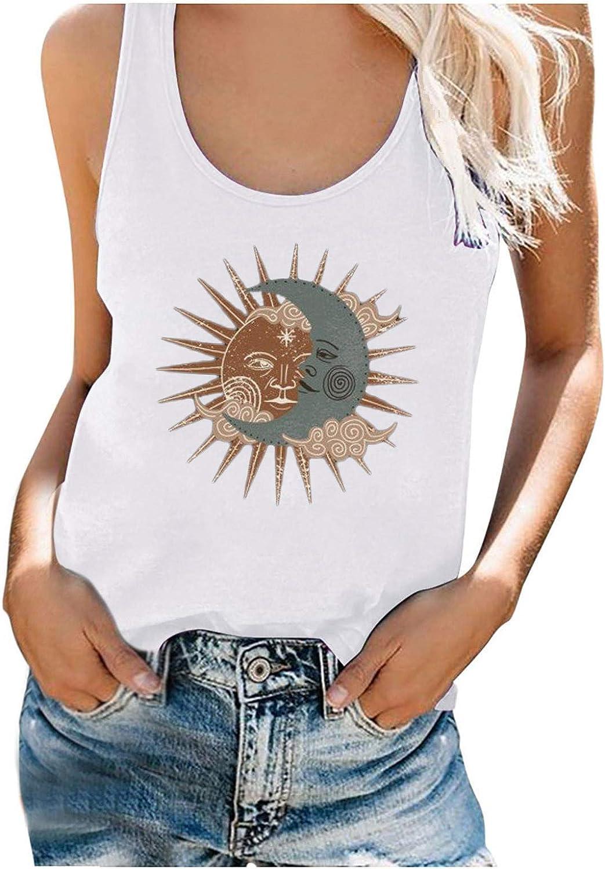 Tank Tops for Women, Women's Fashion Sun Moon Series Print Loose Sleeveless O-Neck Crop Tops for Summer