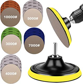 Water Grit Sandpaper 3000/4000/5000/7000/10000 and 5-inch Backing Pad Set, Wet Dry Electric Hook &Loop Sanding Disc with P...