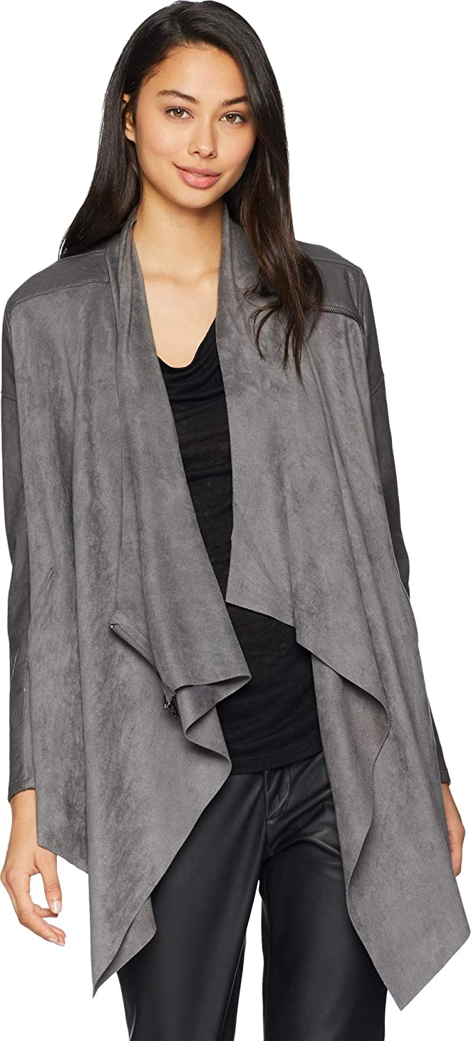 [BLANKNYC] womens Luxury Clothing Faux Suede Drape Front Jacket