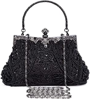1920s Vintage Beaded Clutch Evening Bags for Women Formal Bridal Wedding Clutch Purse Prom Cocktail Party Handbags