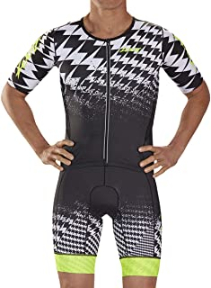 Zoot Men's Ultra Short Sleeve Aero Tri Racesuit - High Performance Triathlon Racesuit with Carbon Fabric and 3 Pockets