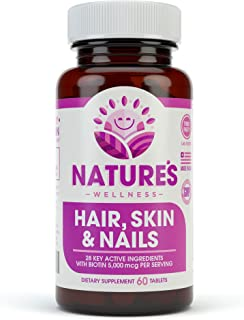 Hair, Skin & Nails Supplement - 5000mcg Biotin, Silica, Vitamin C, E, B, Natural Essential Vitamins, and Advanced Nutrient Complex for Thinning Hair, Men and Women - by Nature's Wellness   60 Tablet