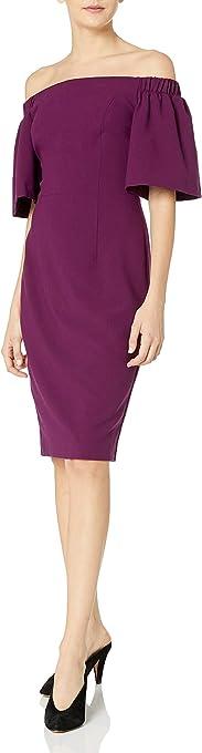 Black Halo Womens 3009434 Varla Sheath Dress Short-Sleeve Dress - Purple